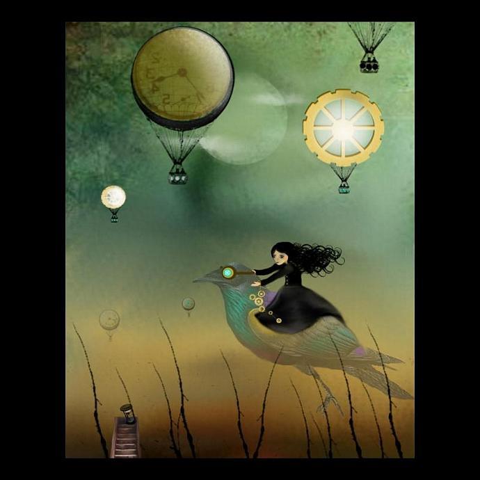 steampunk art print, goth girl art, victorian, Steampunk Flight