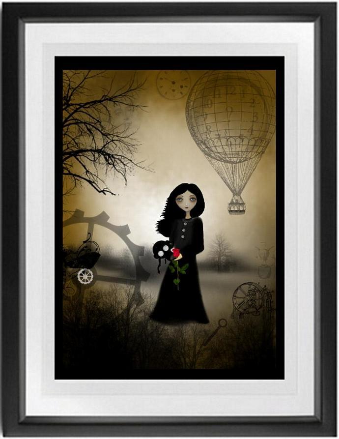 steampunk art print, melancholy art, goth girl art, Every Rose