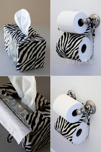 Zebra black and white bath accessory set