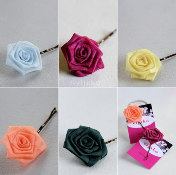 Handmade rose organza flower hair pin/ ponytail ho