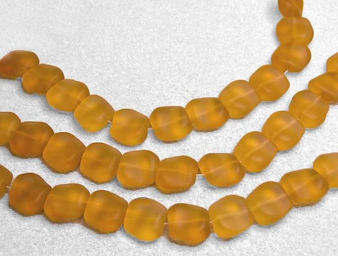 Desert Gold Beach Nuggets- recycled sea glass beads
