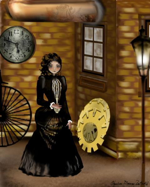 Steampunk Goth Girl Art Print -- 8x10 -- Searching for Baker Street