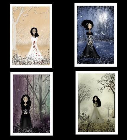 Goth Girl Art Mini-Print Set of 4 --- Melancholy Girls
