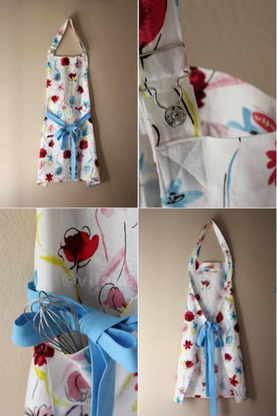 Something blue floral linen full apron