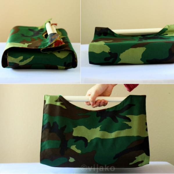 Floral and camo reversible casserole carrier