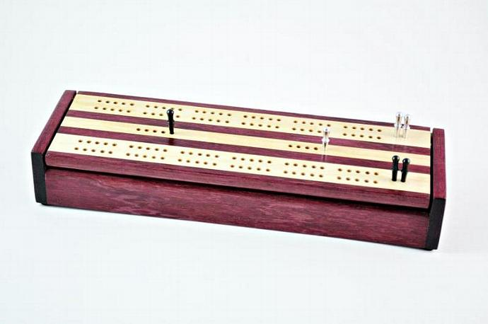 Dual Deck Wood Cribbage Board Box - Purpleheart & Maple