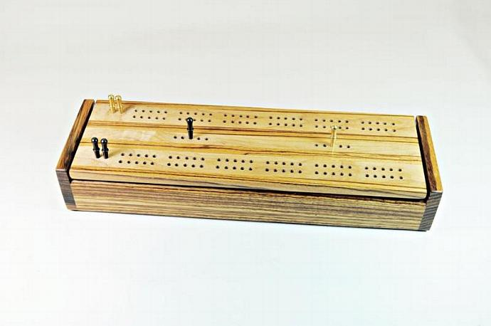 Dual Deck Wood Cribbage Board Box - Zebrawood & Maple