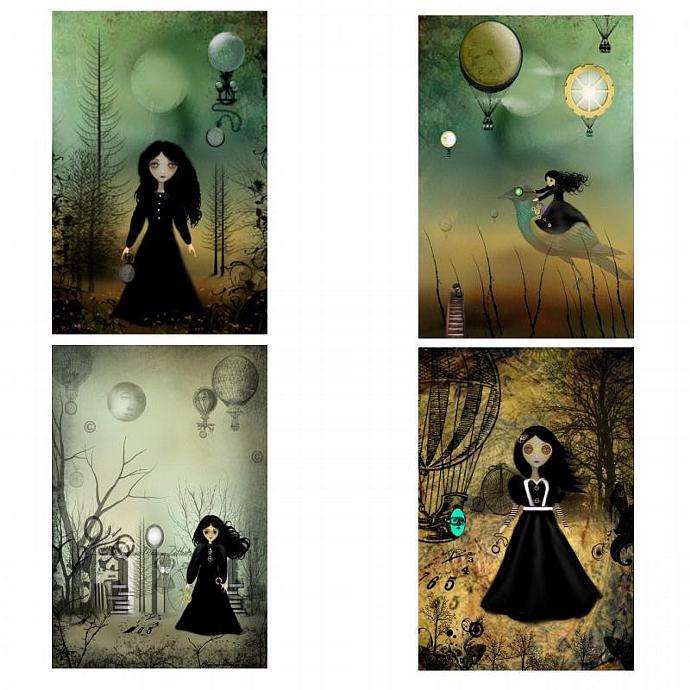 Steampunk Goth Girl Art Mini-Print Set of 4 --- Flights of Fancy