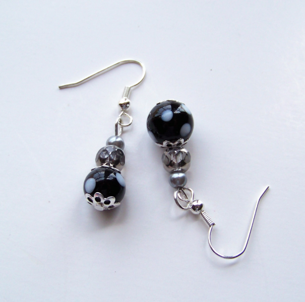 earrings black and white retro funky