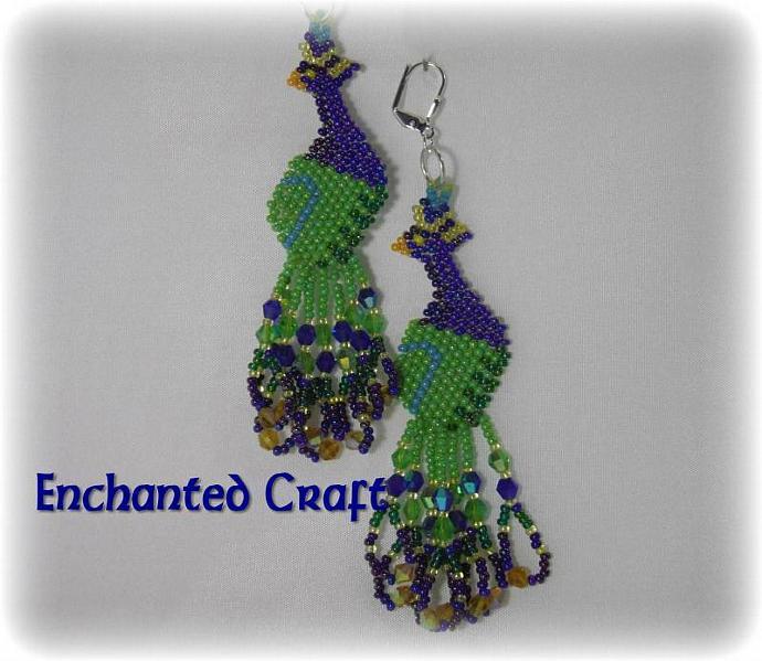Peacock Seed bead earrings- lever back