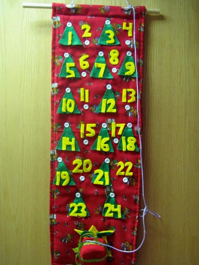 Quilted Childrens Christmas Advent Calendar - Teddy Bears