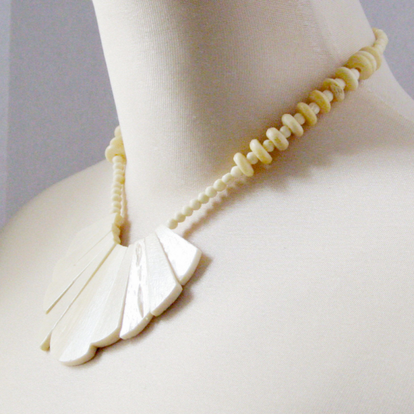 Large Fan Bib Bead Necklace Cream Organic Material