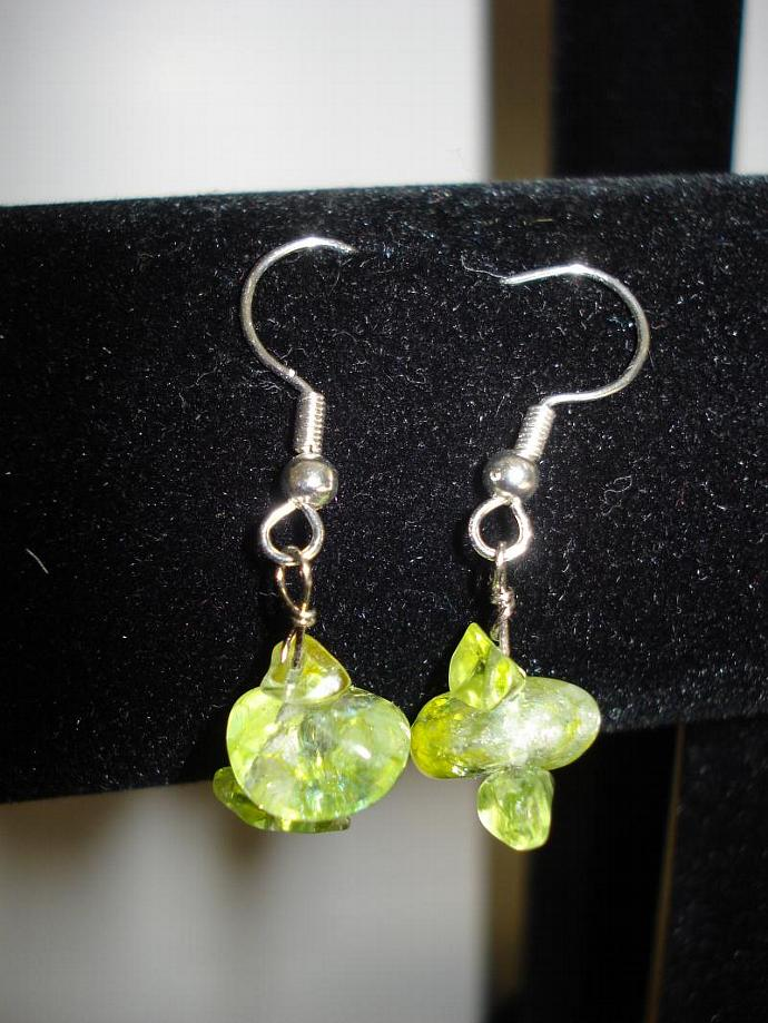 Peridot Nugget Bead Dangle Earrings