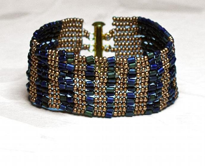 Beadwoven Cuff Bracelet- handmade ooak woven bracelet