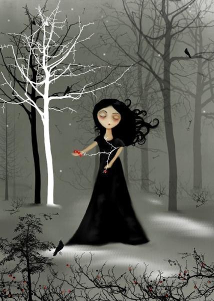 Dark Goth Girl Art Print --- Night Is Falling