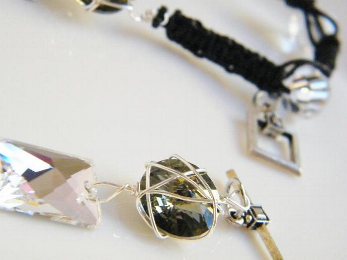 Crystal Clear Smokey Gray Bracelet Swarovski Crystal Black Leather