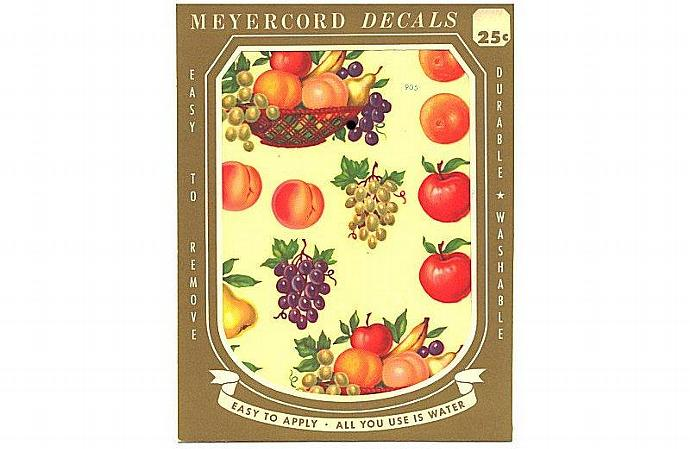 Meyercord Fruit Basket Decals Apples Peaches Vintage 1950s