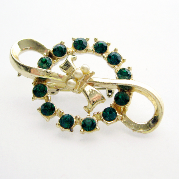 Vintage Emerald Rhinestone Circles and Bows Brooch