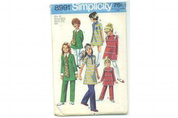 Girls Dress, Pants Sewing Pattern 1970s Simplicity 8991
