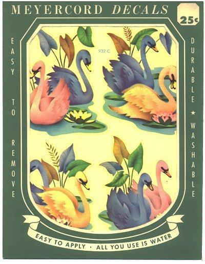 Meyercord Decals Swans Blue Pink Vintage 1950s 932-C