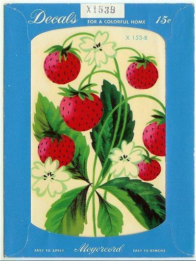 Meyercord Decal Strawberry Strawberries Vintage 1950s