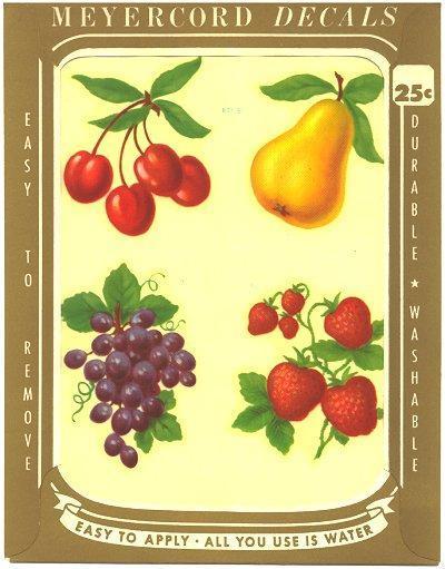 Meyercord Decal Fruit Cherries Pears Grapes Vintage 1950s