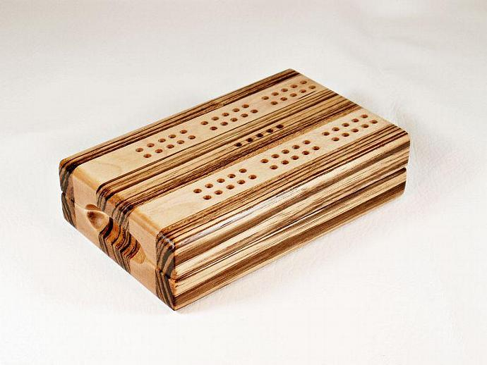 Compact Cribbage Board - Zebrawood & Maple
