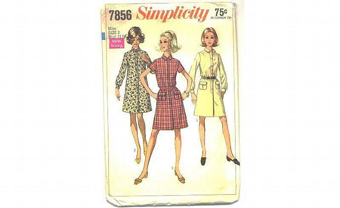 Vintage 1960s Simplicity Dress Sewing Pattern 7856 Sz 8 Bust 31.5