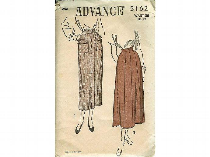 1940s Gored Skirt Vintage Advance Sewing Pattern 5162 Pockets Hip 39