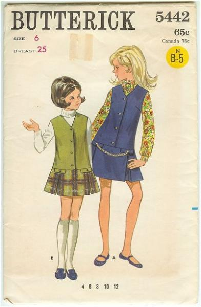 1960s Butterick Girls Low Waisted Jumper Sewing Pattern 5442