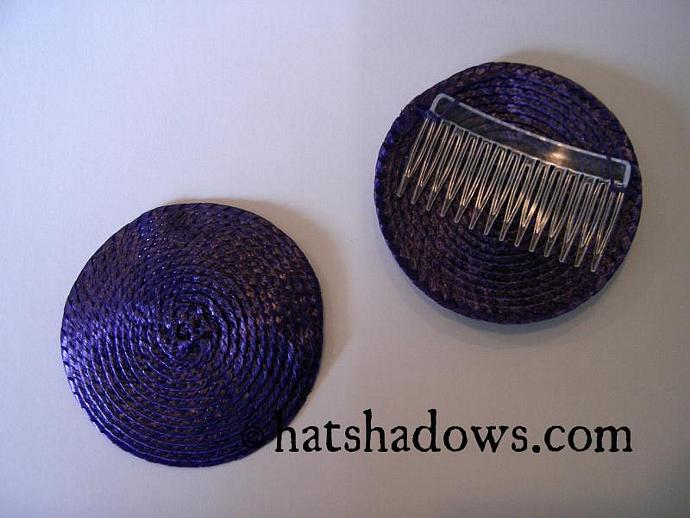 Purple Straw Fascinator Millinery Hat Base with Comb