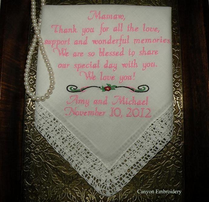 Personalized Wedding Hankie for Grandma