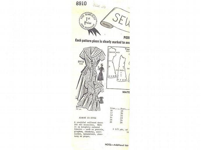 Vintage 1950s Mail Order Ladies Collared Dress Sewing Pattern 8910/16