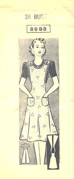1940s Mail Order Ladies Full Kitchen Apron Pattern 8988 38 Bust