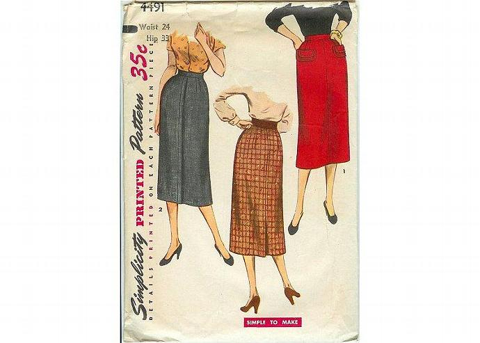 Vintage 1950s Simplicity Ladies Skirt Pattern 4491 Hip 33