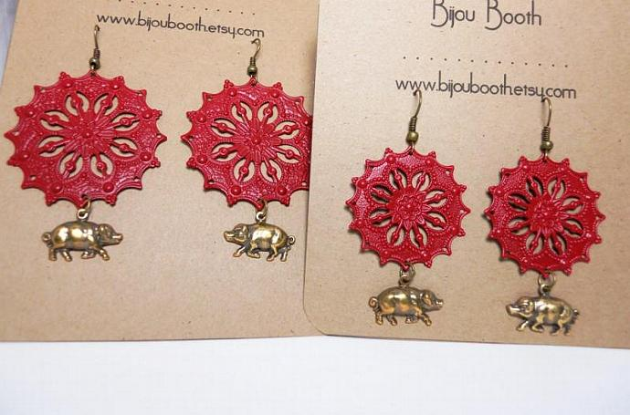 Razorback Red Woo Pig Earrings