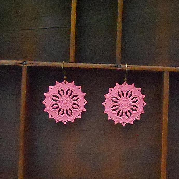 Cotton Candy Pink Filigree Earrings
