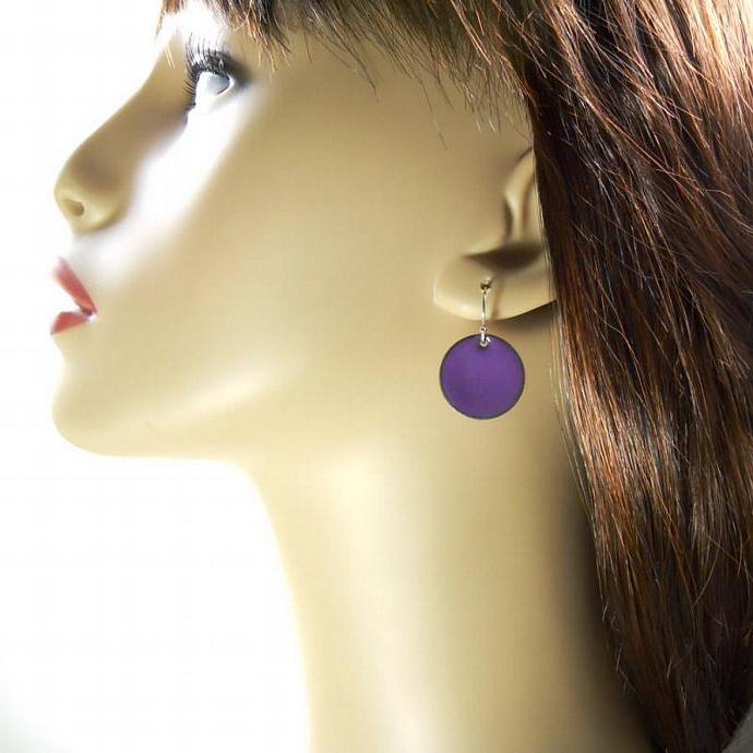 Lavender Hyacinth Purple Enamel Penny Earrings