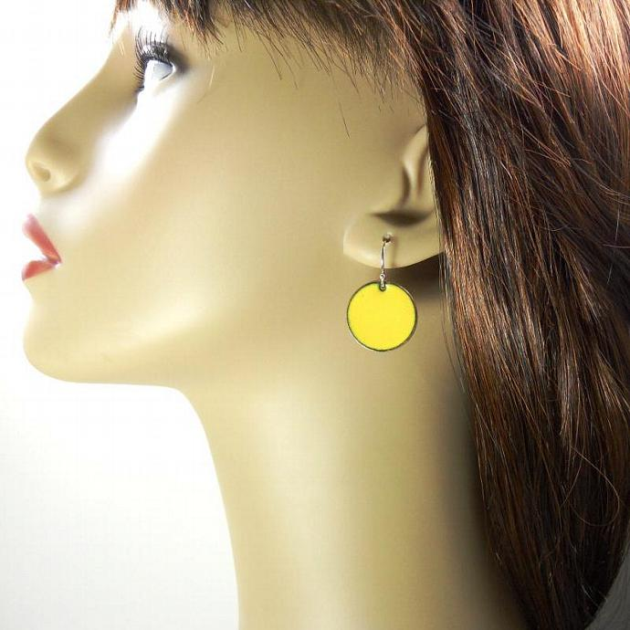 Yellow Penny Earrings