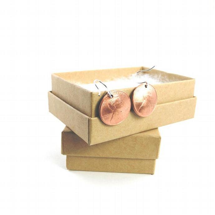 White Penny Earrings