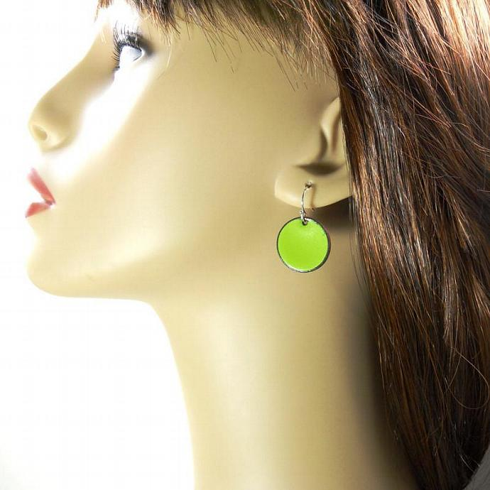 Green Penny Earrings
