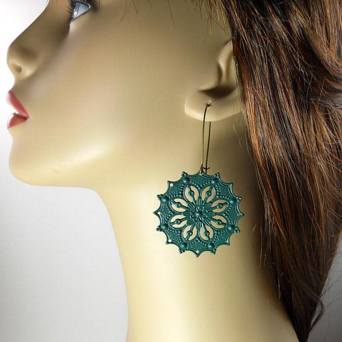 Large Dark Green Filigree Earrings