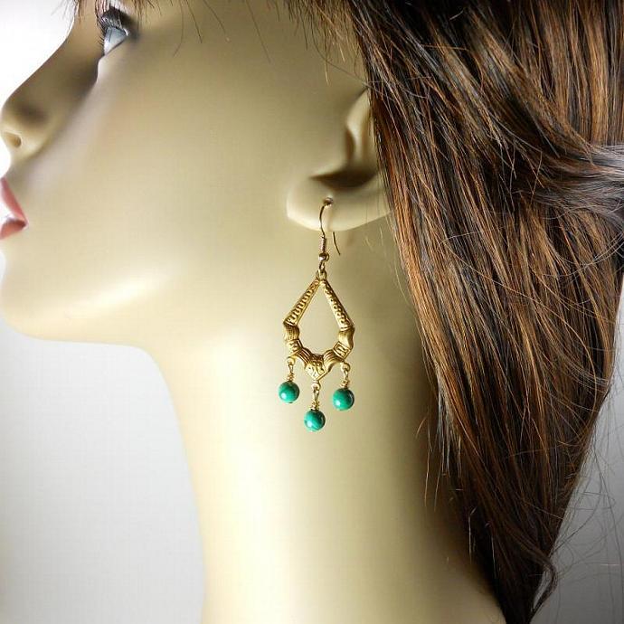 Vintage Brass and Gemstone Earrings