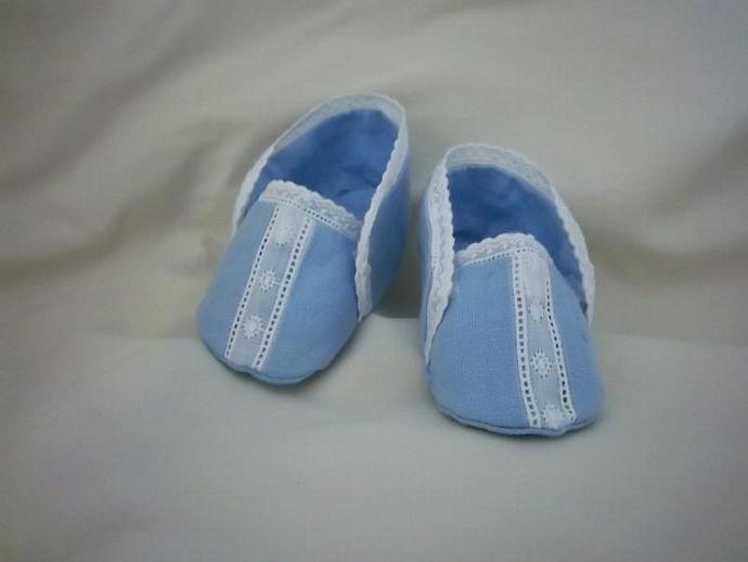 Baby boy blue linen shoes