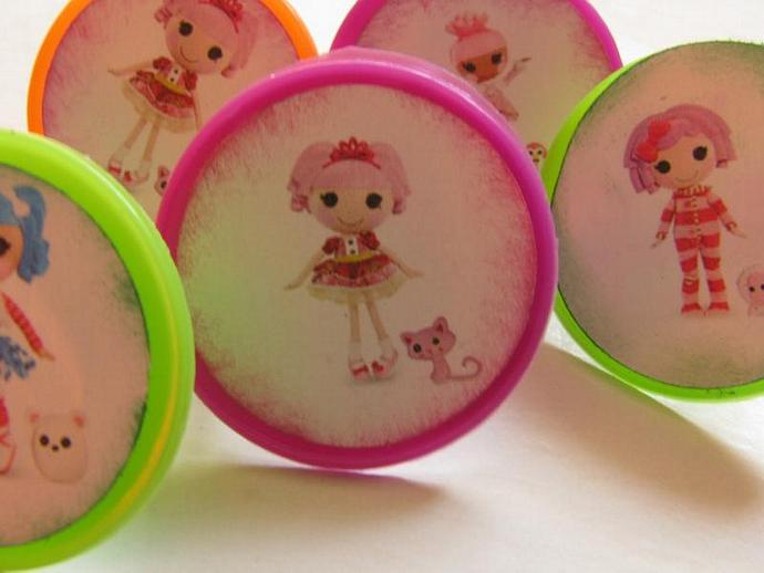 Lalaloopsy Rings - Cupcake Toppers-Birthday Favors- Cake toppers- A set of 6