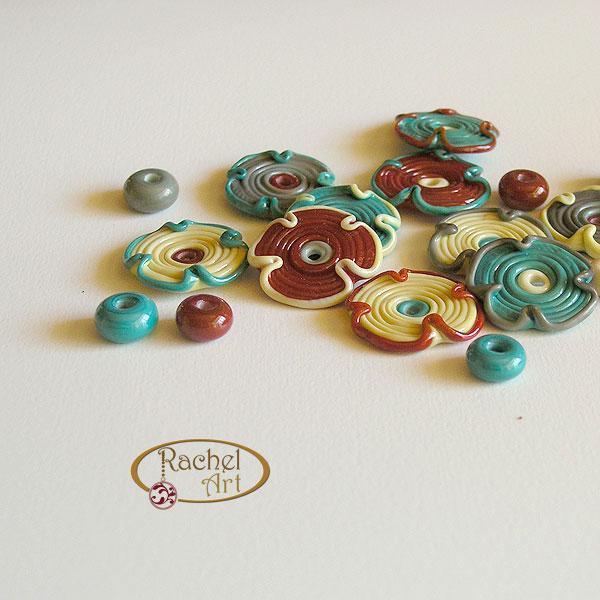 Handmade Lampwork Flower Glass Disc Beads