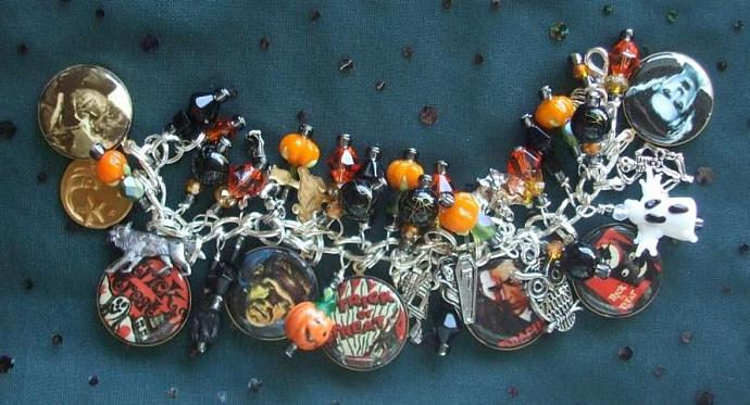 Trick or Treat Halloween House Party Charm Bracelet with 4 Classic Film Monsters