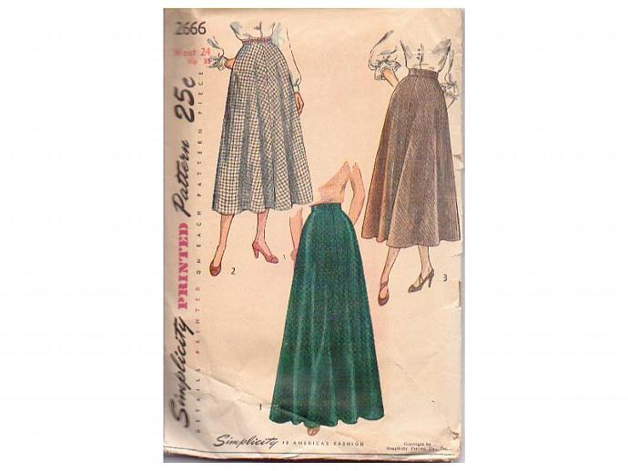 Simplicity Skirt Pattern 2666 Womens Vintage 1950s Waist 24 Hip 33