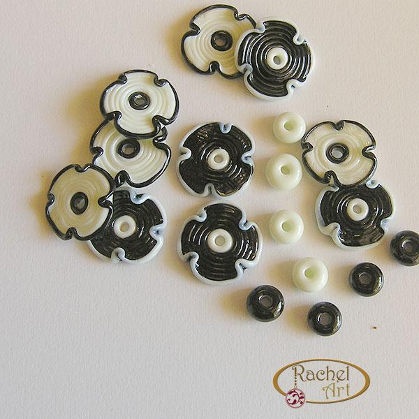 Handmade Lampwork Flower Glass Disc Beads-Black and White