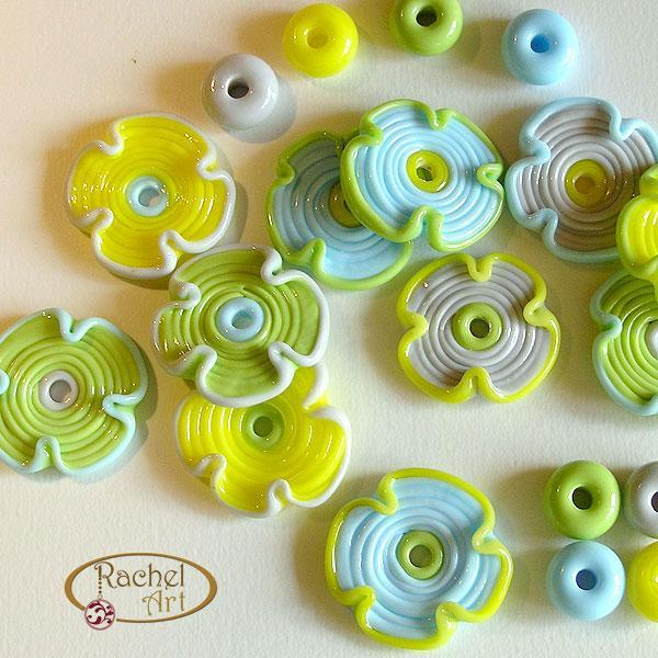 Lampwork Flower Glass Beads, Lampwork Beads, Handmade Lampwork Glass Flower